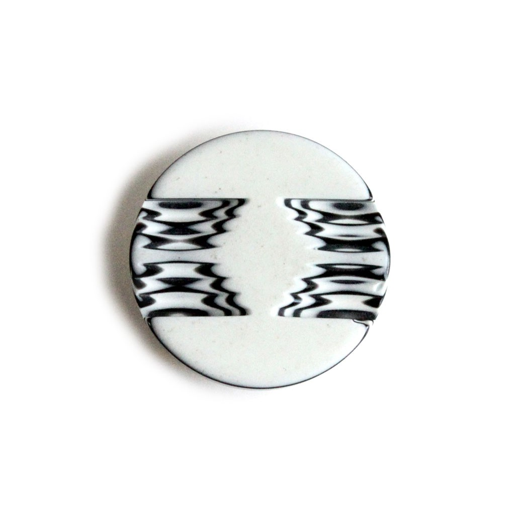 Fur Coat Button - White and Black - 30mm