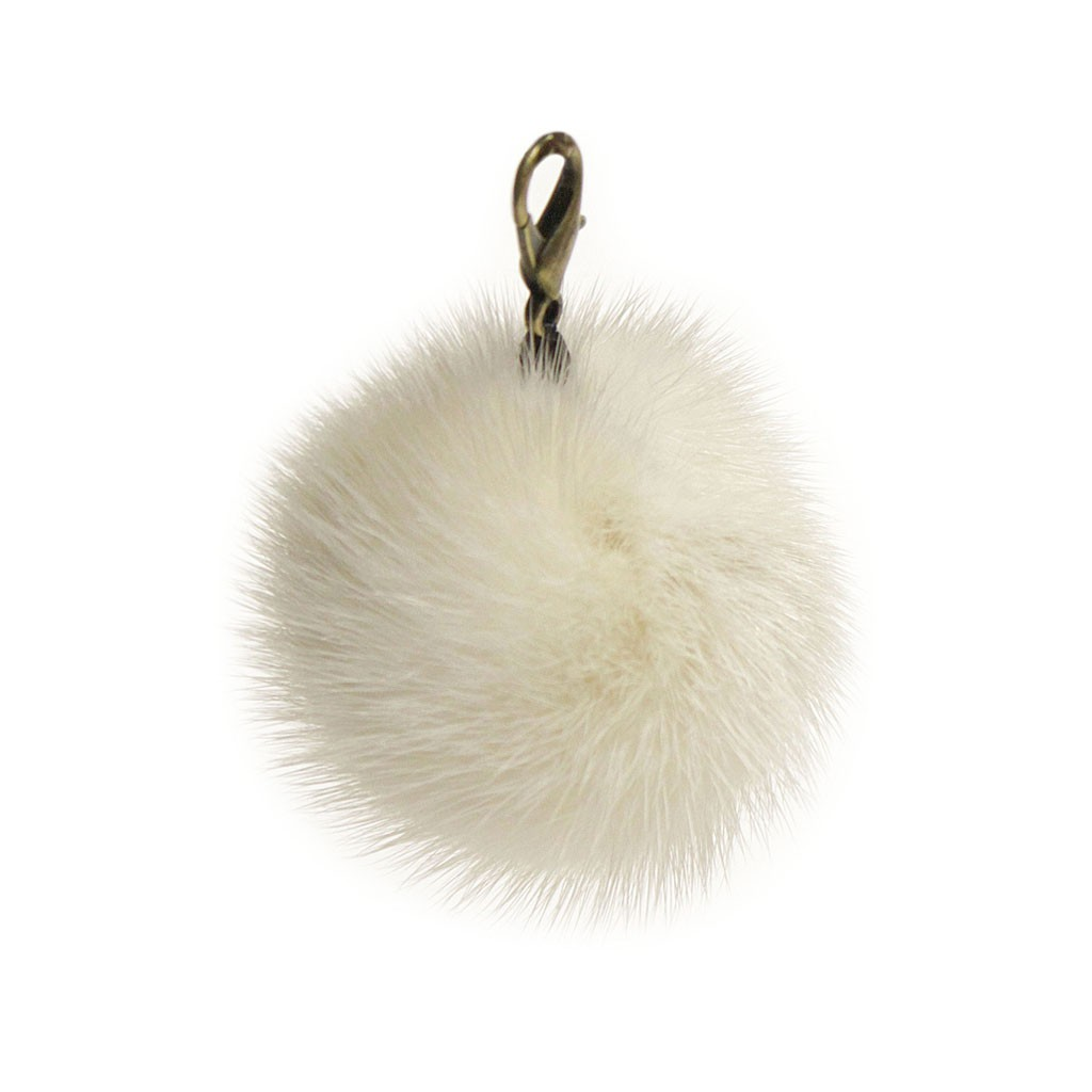 "Lana's 2"" Real Fur Pom-Pom - Off-White* Mink Fur"