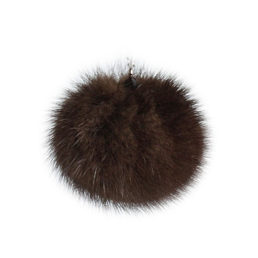 """Lana's 2"""" Real Fur Pom-Pom - Dark Brown/Black* Mink Fur"""