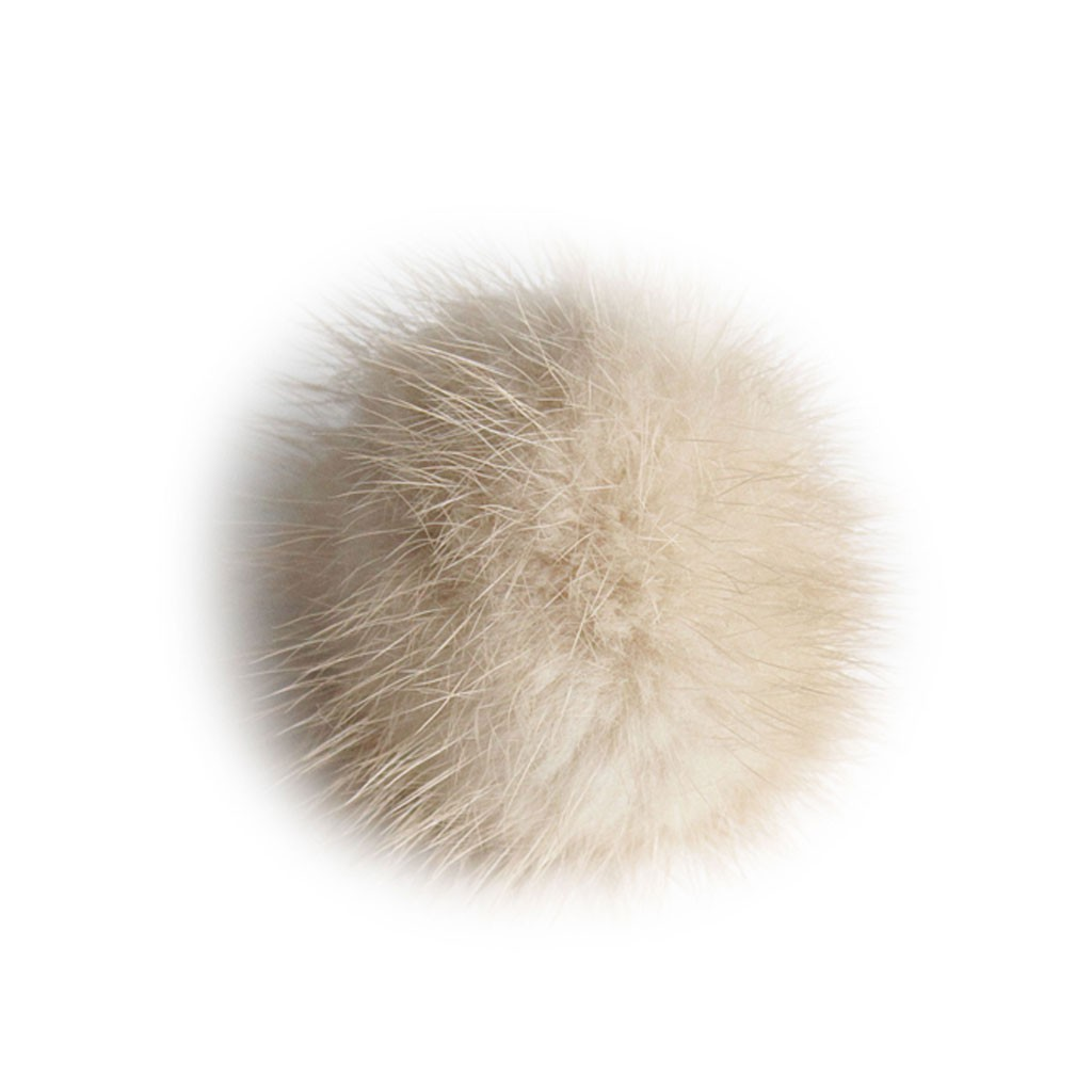"Lana's 2"" Real Fur Pom-Pom - Beige/Light Brown* Mink Fur"
