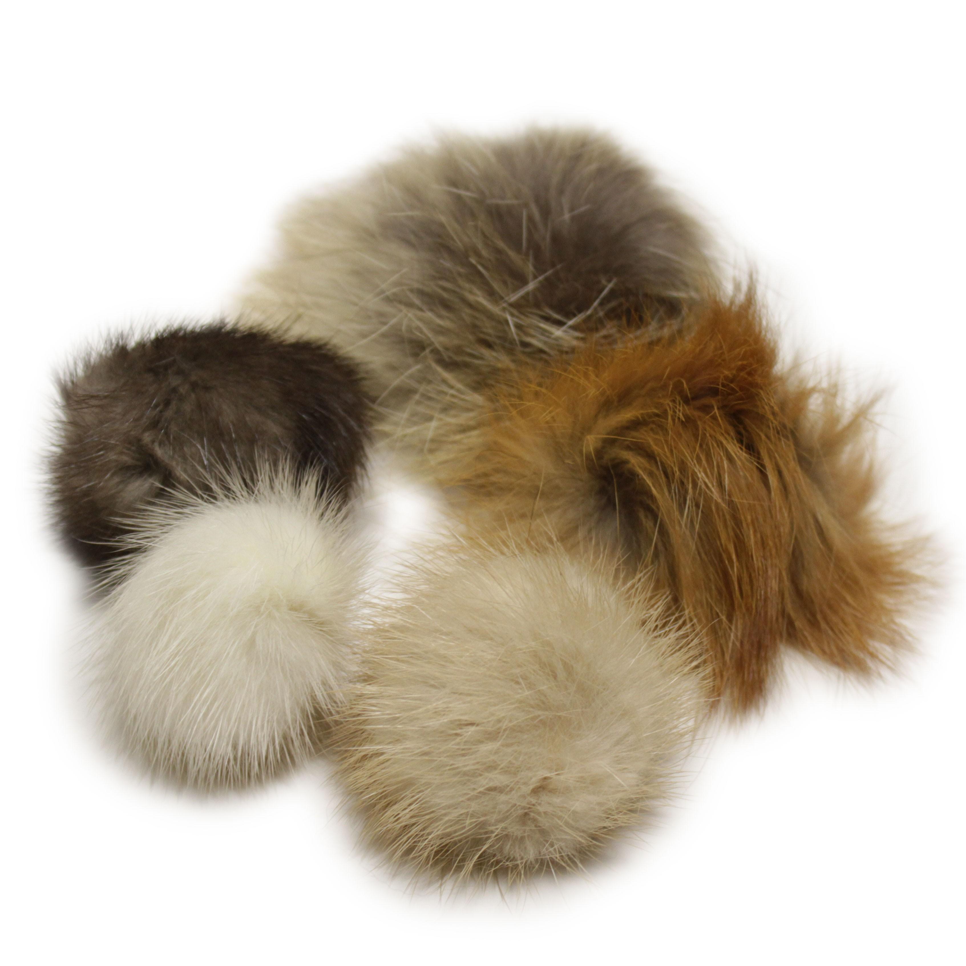 "5-pack Lana's 1.5""-2.5"" Real Fur Pom-Poms - Mink, Coyote, Fox Fur"