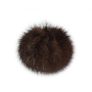 "Lana's 2"" Real Fur Pom-Pom - Dark Brown* Mink Fur"